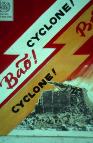 DWF Typhoon damage prevention poster produce in Viet Nam 1989